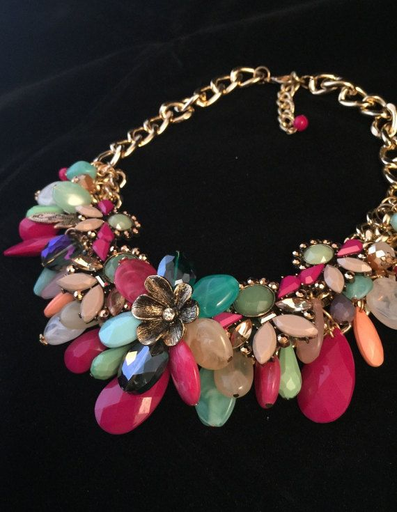 Statement Bib Necklace Chunky Necklace Colorful by mypurplebasket