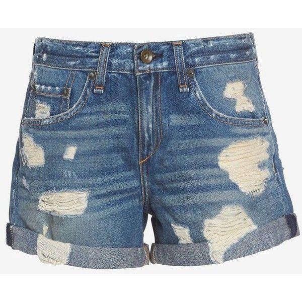 rag & bone/JEAN Obispo BF Rebel Short ($169) ❤ liked on Polyvore featuring shorts, pants, zipper shorts, cuffed shorts, torn shorts, destroyed shorts en ripped short shorts