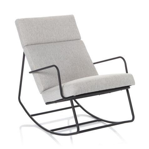 schaukelstuhl modern interpretierter mit schaumstoffgepolstertem sitz grau meliertem bezug aus polyester und filigranem schwarz lackiertem gestell weiss