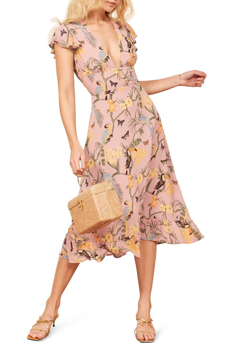 Reformation Riegan Midi Dress Nordstrom Wedding Guest Dress In