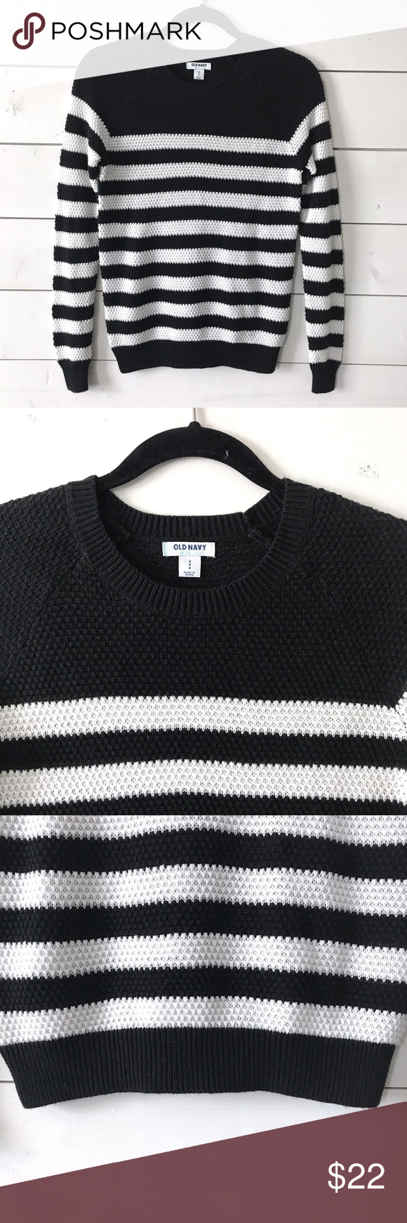 Old Navy Black White Knit Crewneck Striped Sweater | Navy sweaters ...