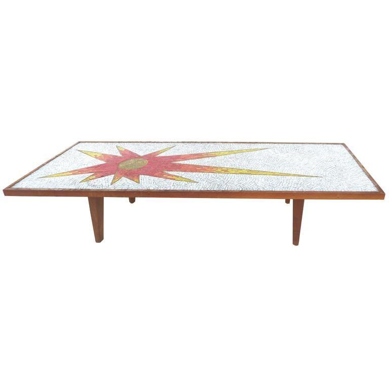 1960s sunburst mosaic tile coffee table