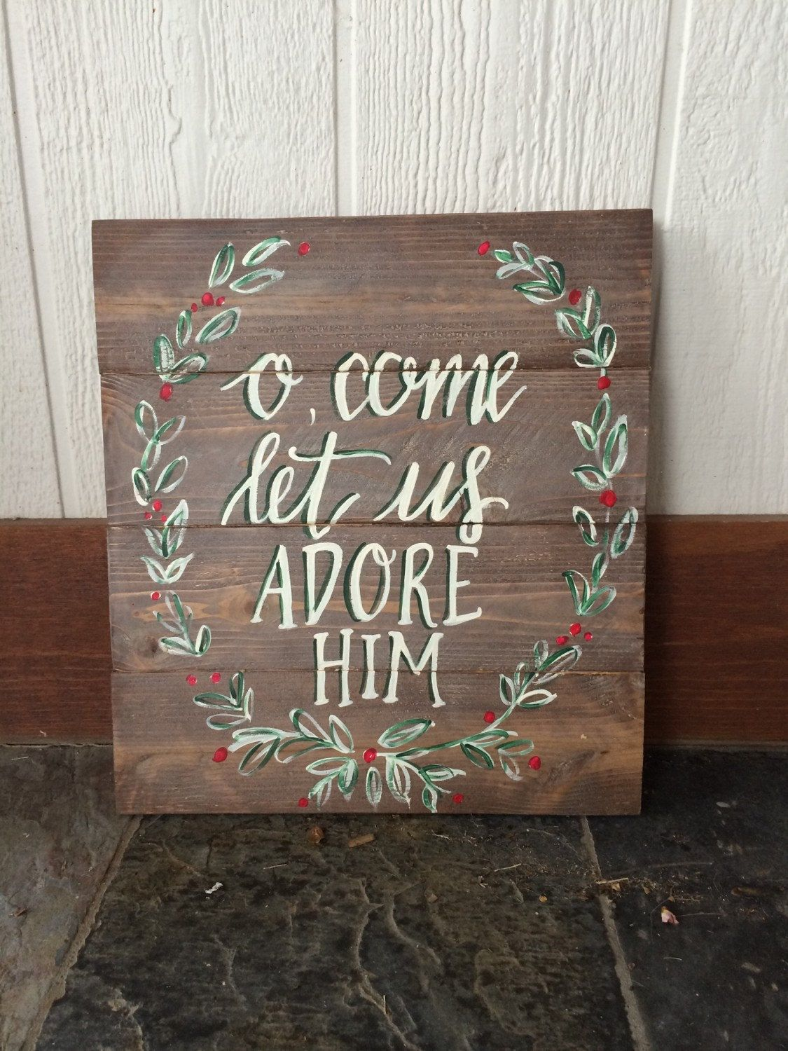 O come let us adore him, wooden sign, #christmas #etsy ...