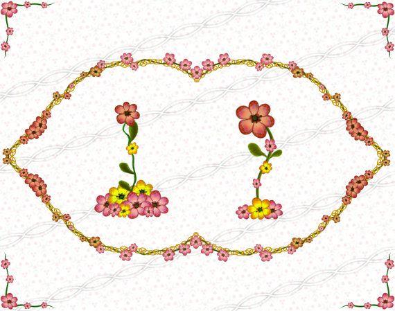 Instant Download Png Flower Frame Clipart Laurel Wreath Bloom Digi