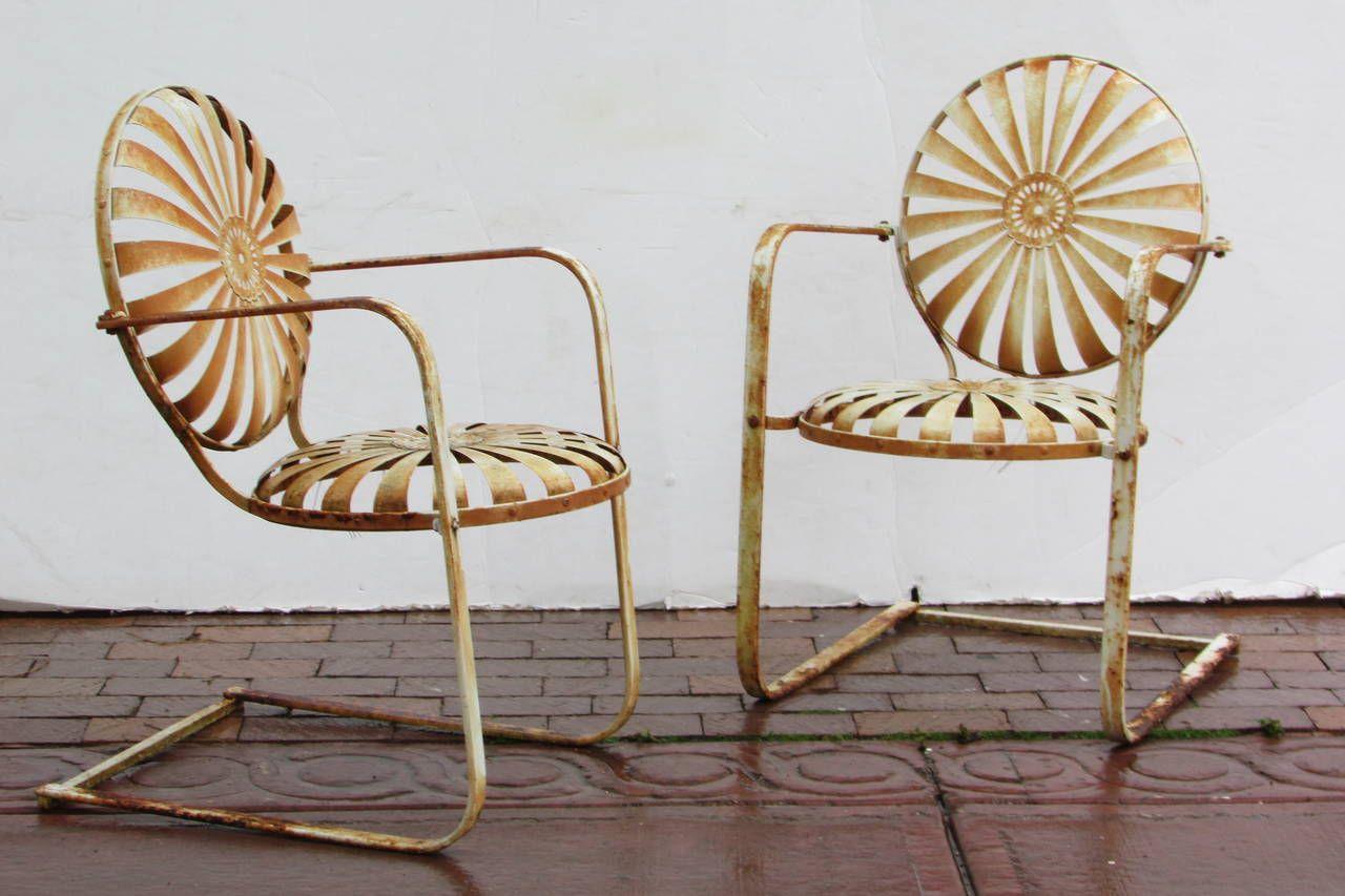 Francois Carre French Garden Chairs, circa 9  Garden chairs