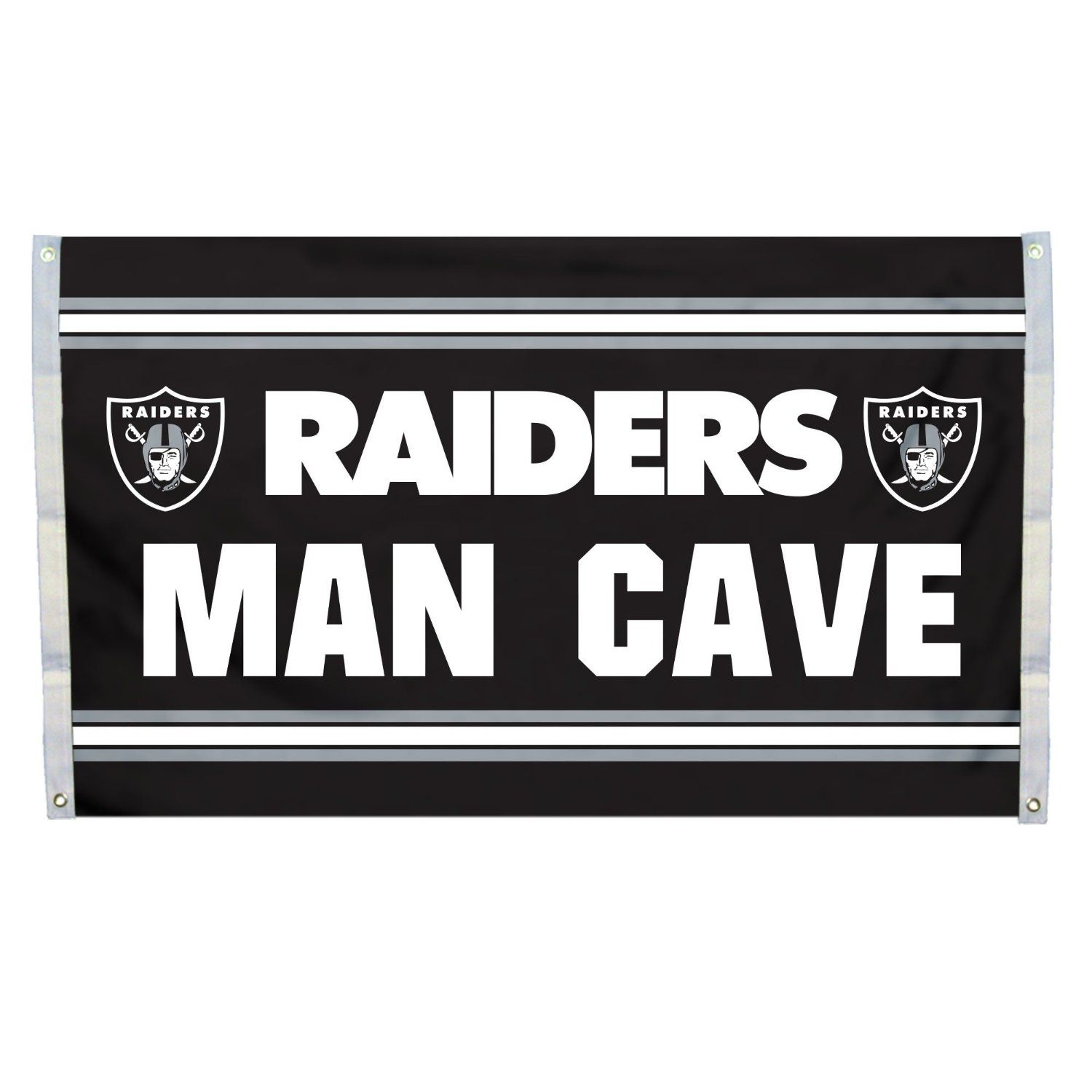 NFL Oakland Raiders Man Cave Flag with 4 Grommets, 3 x 5-Feet: Amazon.com.mx: Deportes y Aire Libre