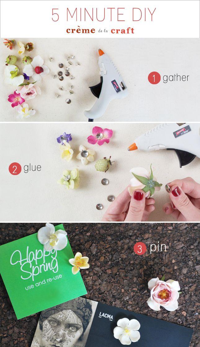 Cómo hacer chinchetas decoradas con flores para tus tablones  #diy #scrap #decoracion