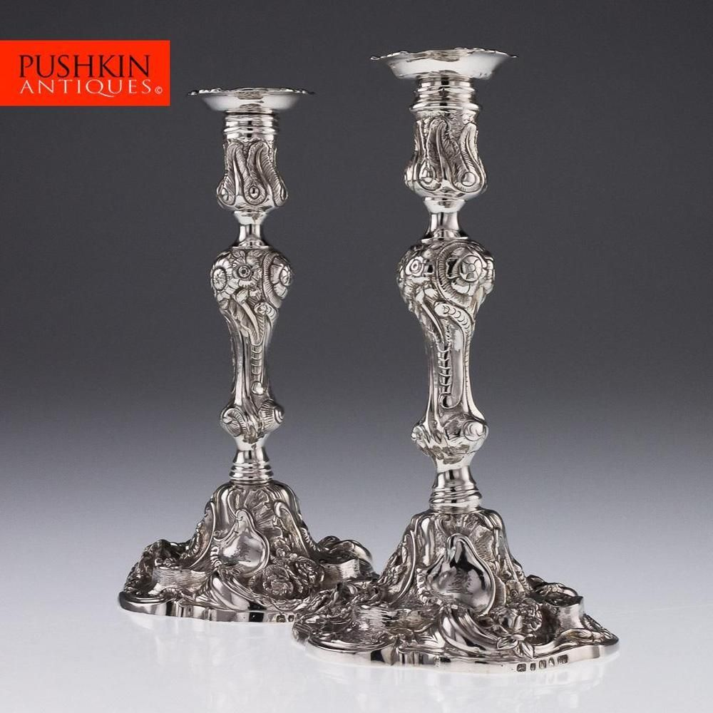 Antique, Victorian, Pair Of Libertys Candlesticks In