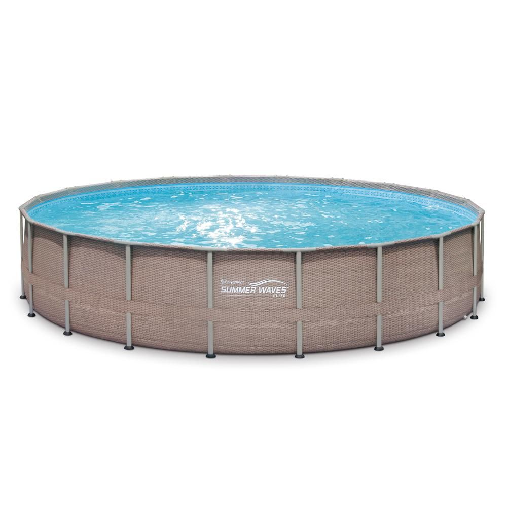 Summer Waves Elite 20 Ft X 48 In Deep Round Above Ground Pool Elite Metal Frame Pool With Sand Filter Cover Surestep Ladder Maint Kit P4g02048b121 The H In 2020 Round