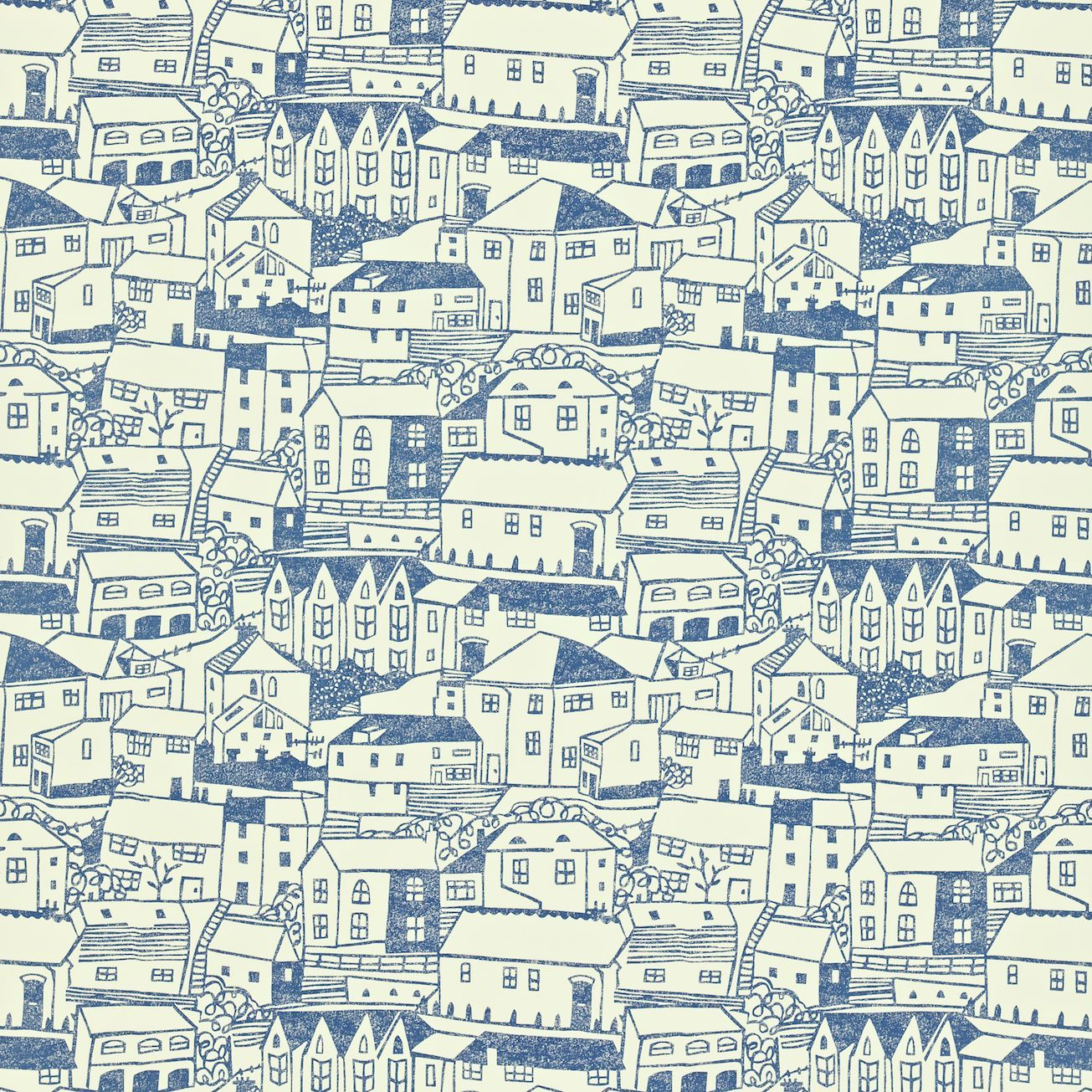 Sanderson UK wallpaper design 'St Ives' in indigo / ivory