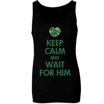 Keep Calm & Wait For Him: Custom Junior Fit Bella Sheer Longer Length Rib Tank Top - Customized Girl