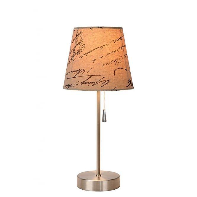 Lucide Yoko Cottage Round Linen Satin Chrome And Cream Table Lamp Lamp Cream Table Lamps Table Lamp