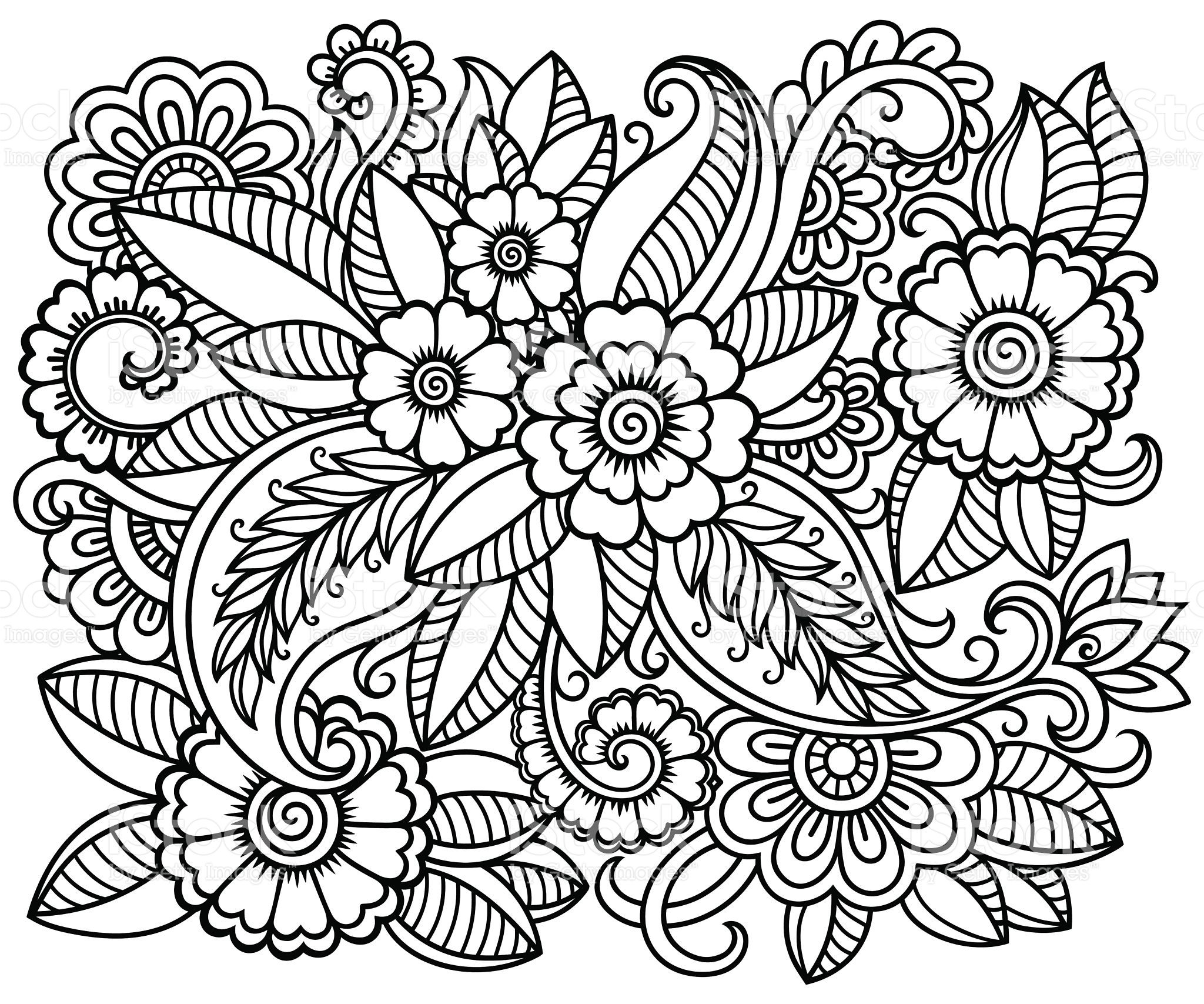Doodle Floral Pattern For Coloring Book Vector Id583980452 2048 1707 Doodle Patterns Coloring Books Flower Coloring Pages