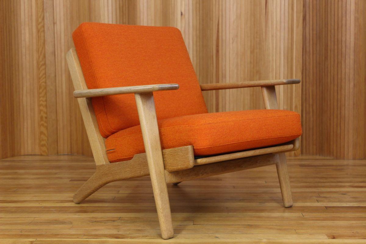 hans wegner oak plank lounge chair model ge 290 manufactured