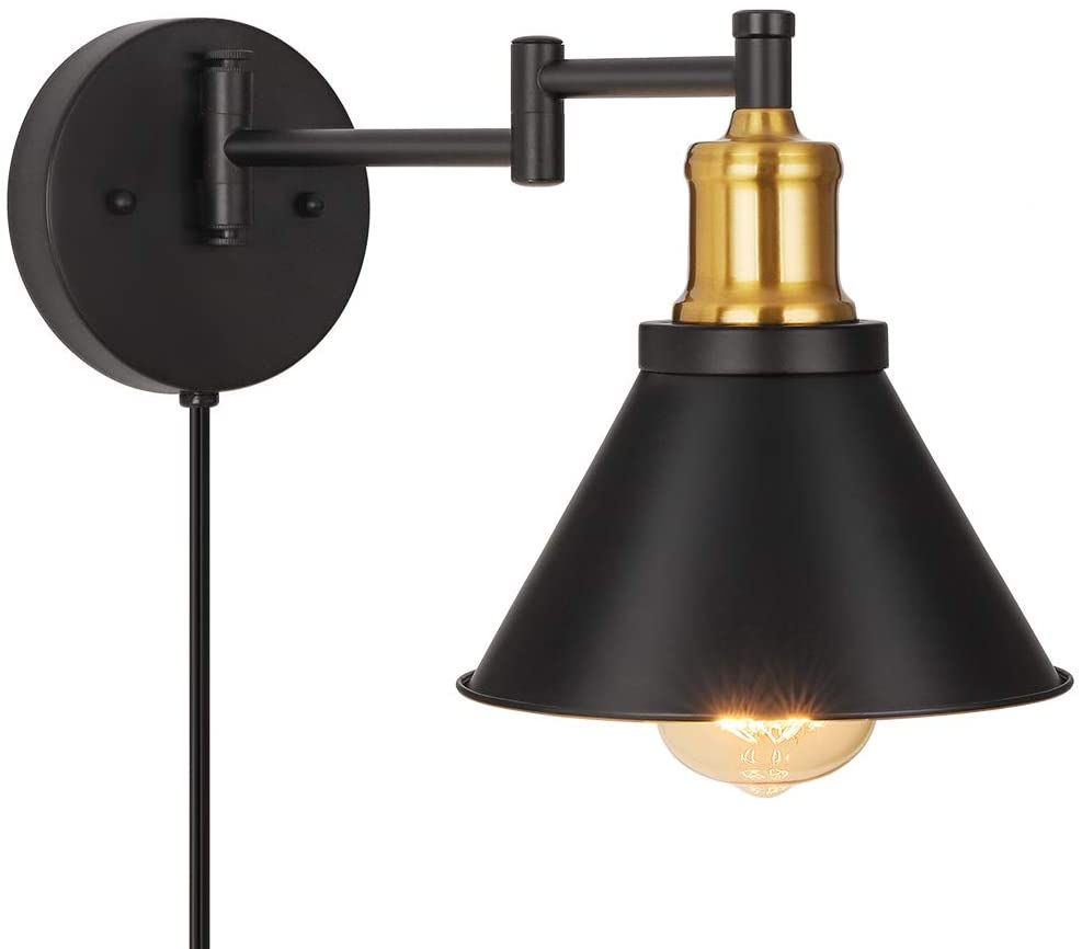 Swing Arm Wall Lamp Industrial Wall Sconce Plug In Wall Lights Fixtures For Bedroom Bedside Swing Arm Wall Lamps Industrial Wall Sconce Plug In Wall Lights