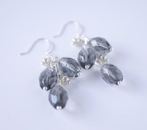 Smokey Gray Faceted Glass Silver Metal Dangle by CoolWaterGems, $26.00
