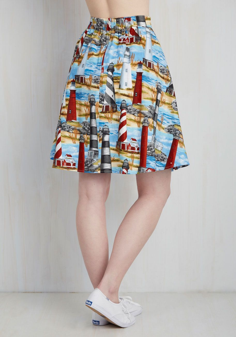 Working for the Beacon Skirt. Give that big project your all cause after its all over, this quirky cotton skirt is ready to be worn to brunch! #blue #modcloth