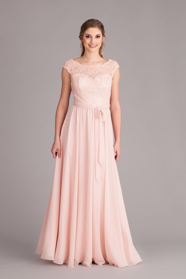 63a830a0ef1 A gorgeous lace and chiffon bridesmaid dress with an illusion lace neckline  and long chiffon skirt.