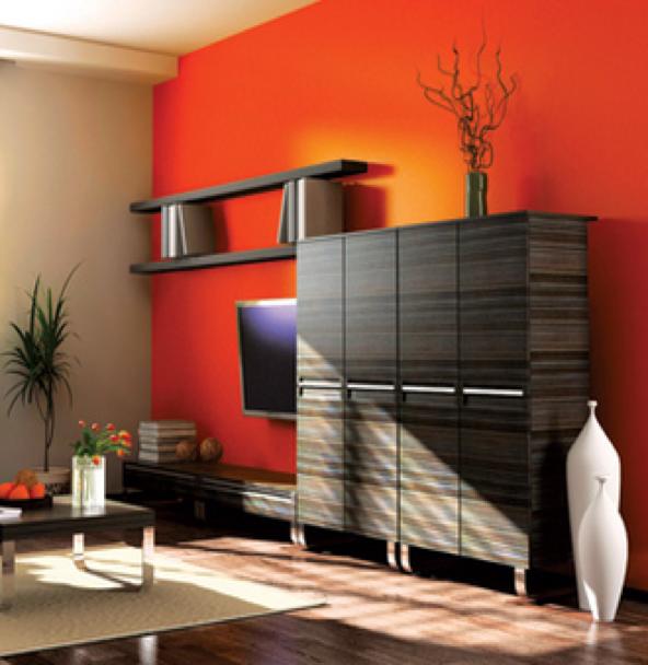 Los tonos fuertes y cálidos son perfectos para tu #sala ...