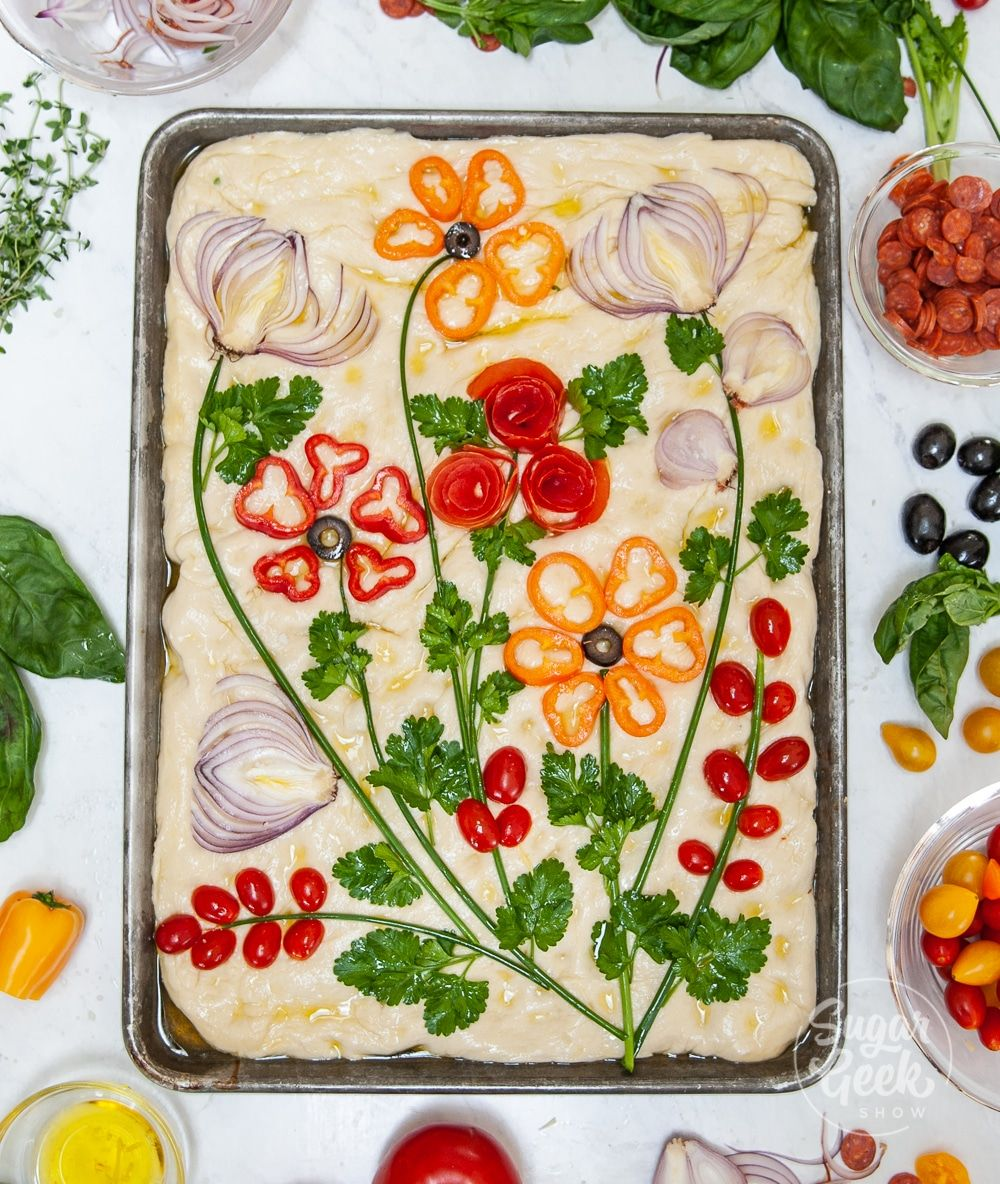 How To Make Focaccia Bread Art With Vegetables + Herbs – Sugar Geek Show