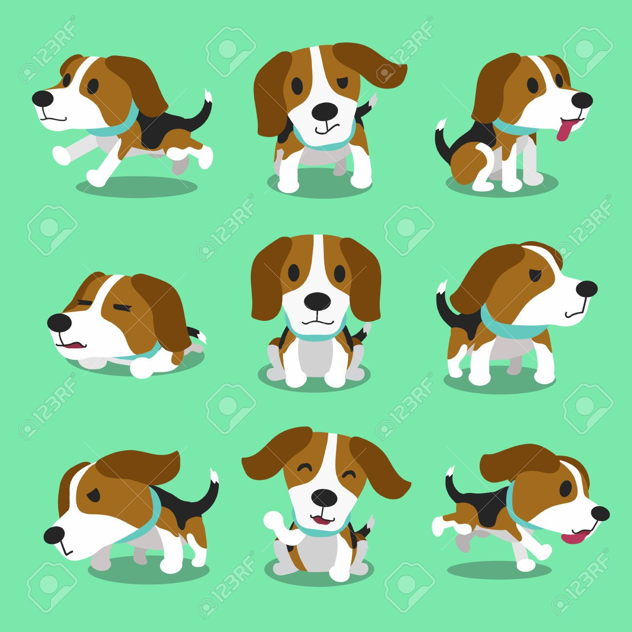 Cartoon Character Beagle Dog Poses Cartoon Dog Beagle Dog Beagle Art