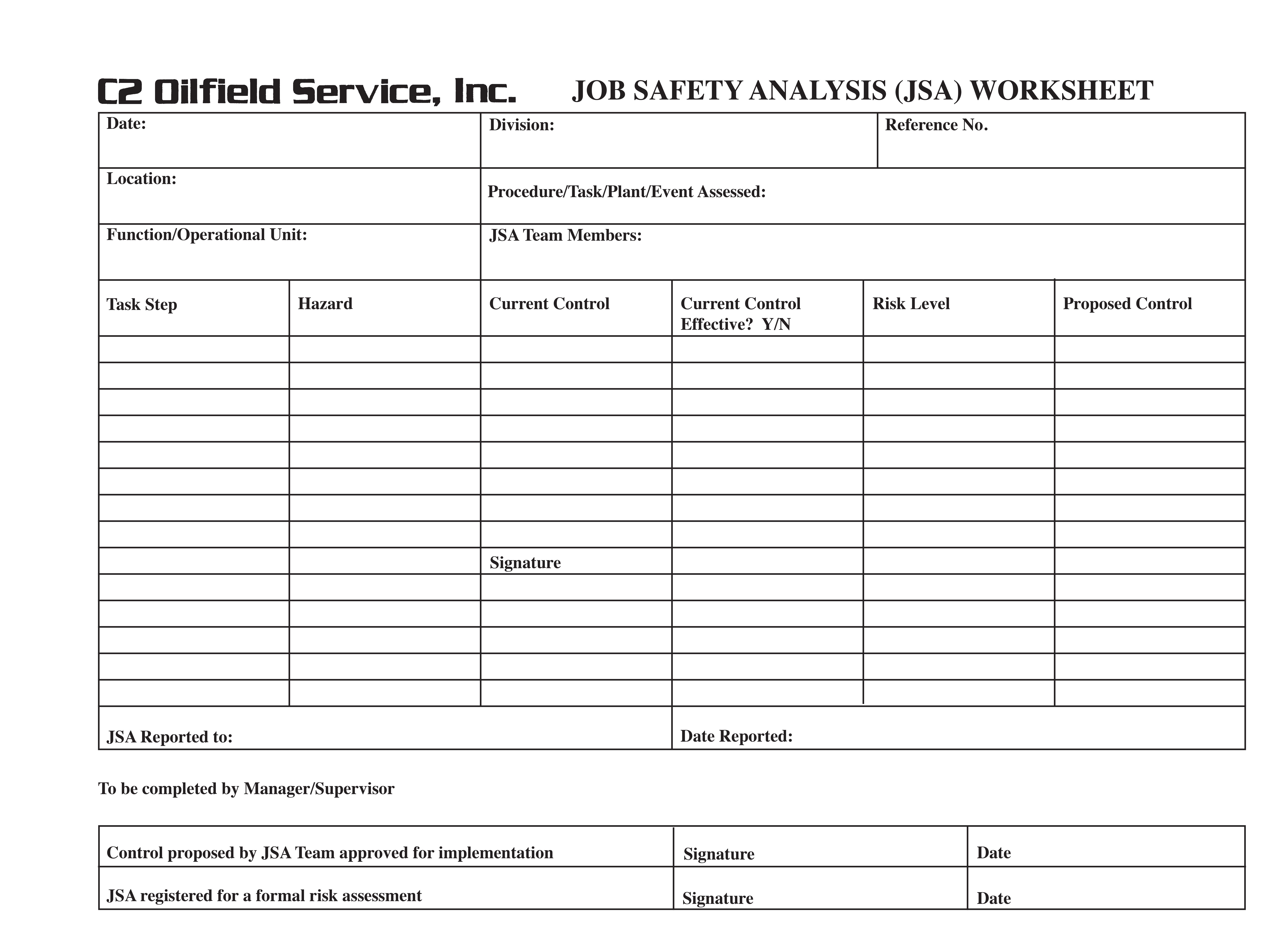 Job Safetyysis Form With Images