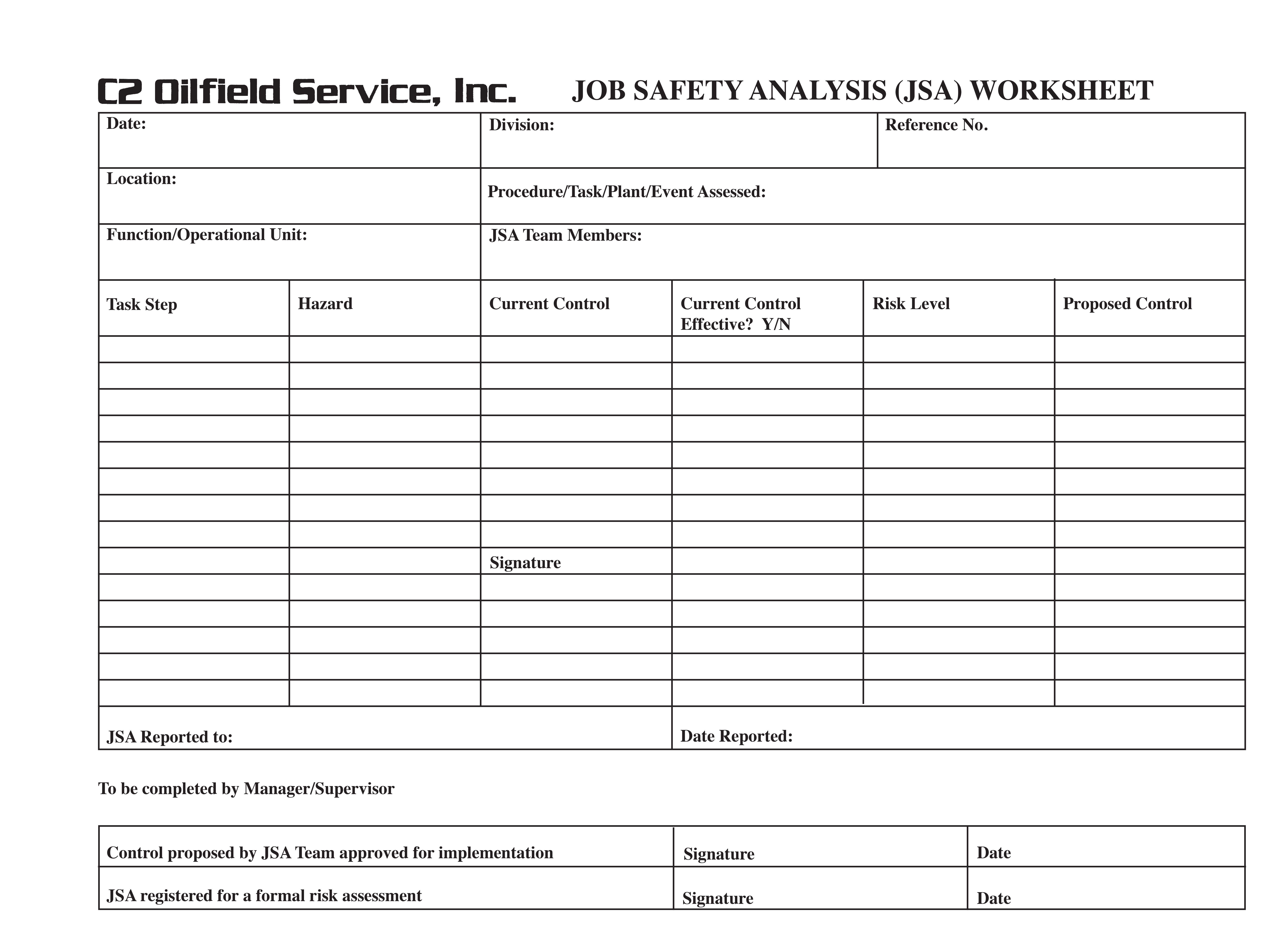 Job Hazardysis Worksheet
