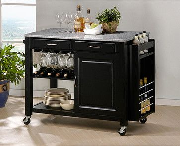 Phoenix Black Modern Kitchen Island with Granite Top ...