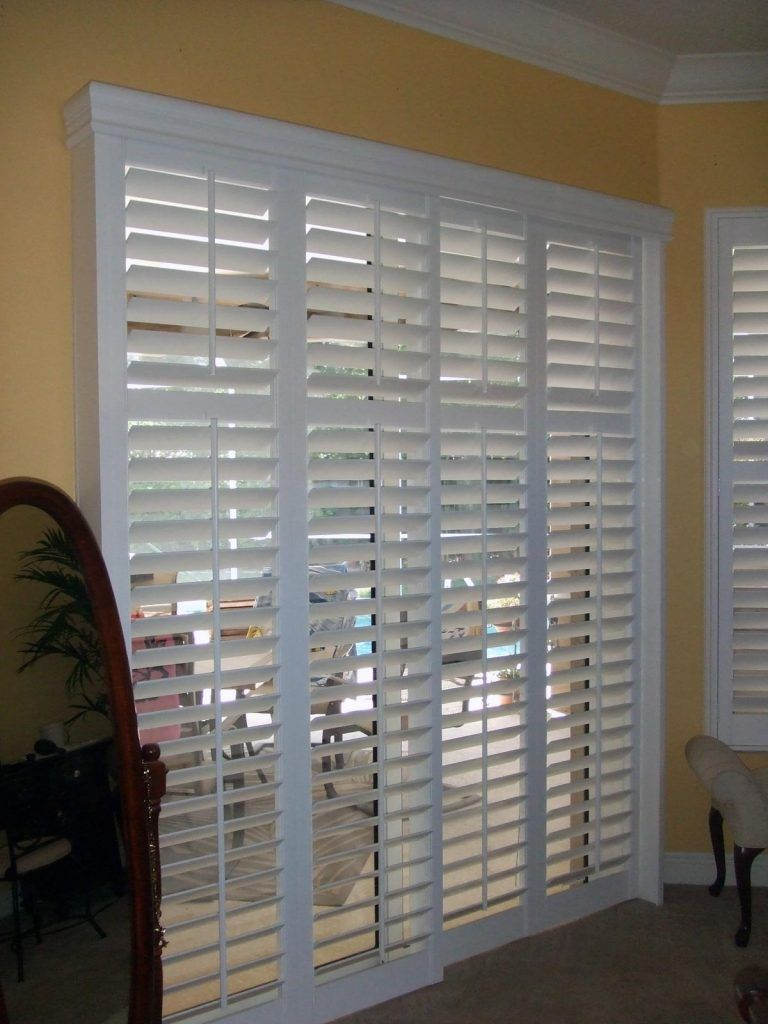 Sliding Bypass Shutters Are A Great Way To Cover A Patio Door