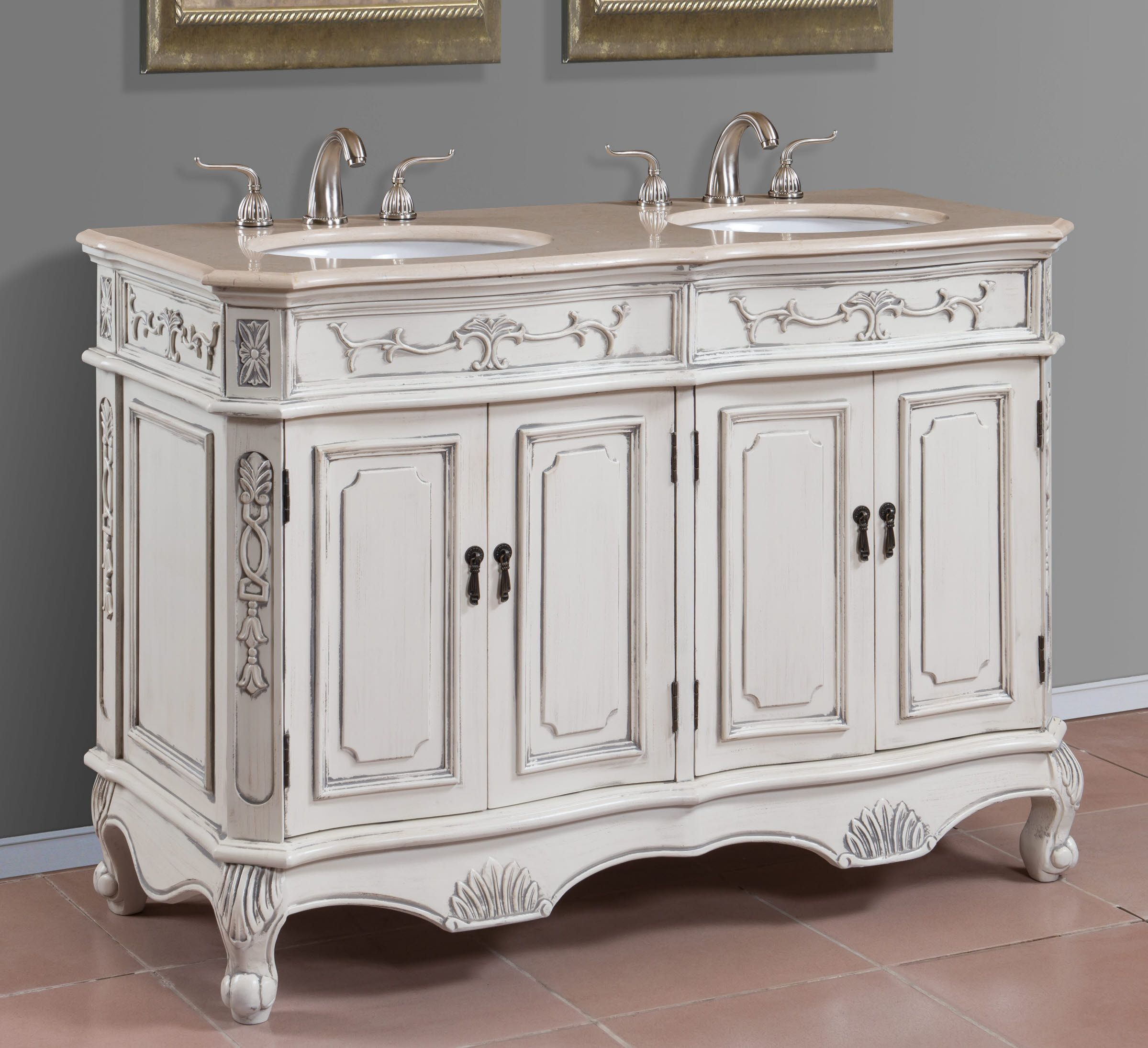 50 Inch Double Sink Bath Vanity With Cream Marble Top 1153