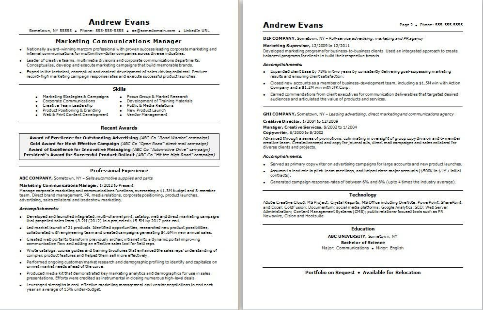 Get tips on how to write a resume for a marcom job with this ...