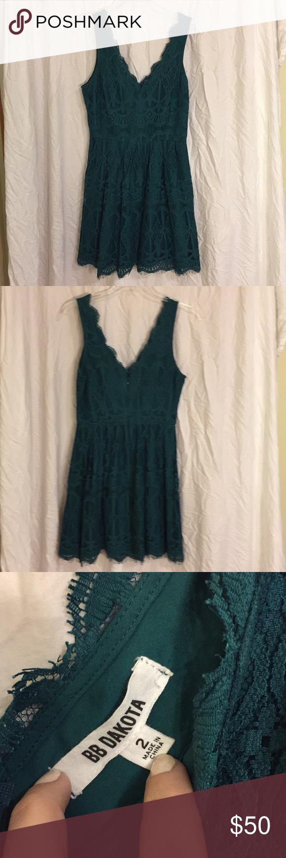 Green dress with lace overlay  BB Dakota Hunter Green lace overlay dress  Lace overlay dress