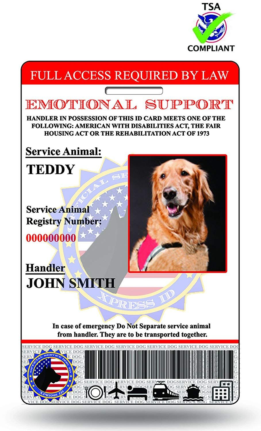 Xpressid Holographic Emotional Support Dog Id Card Custom Includes Registration To National Dog Registry Very Ni Emotional Support Dog Service Dogs Dog Id
