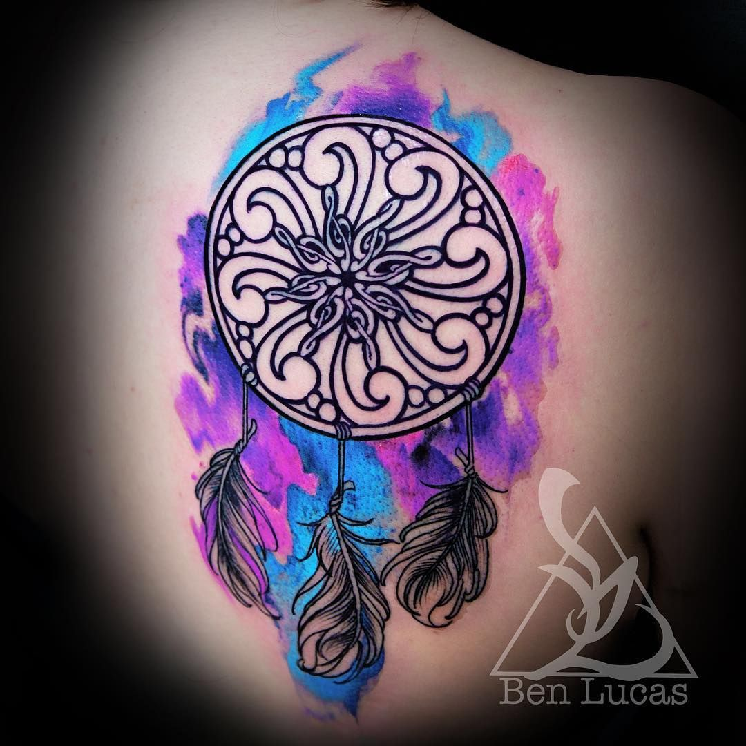Blue Purple And Pink Music Themed Watercolor Dreamcatcher Tattoo