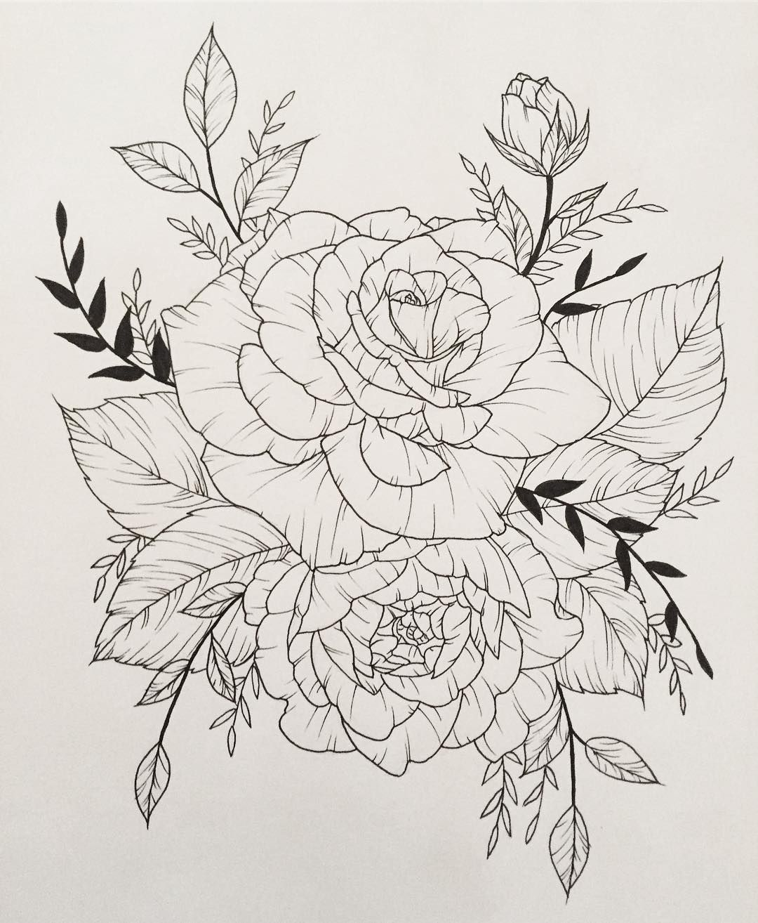 Roses Rose Flowers Tattoo Flash Leaves Linedrawing Art Drawing Illustration Design Blossom Rose Outline Tattoo Flower Tattoo Drawings Drawings