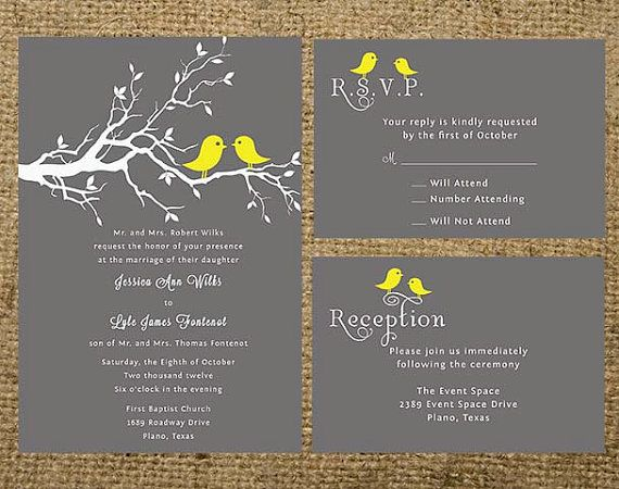 Printable Gray And Yellow Love Birds Wedding Invitation Set Suite Colors Can Be Changed