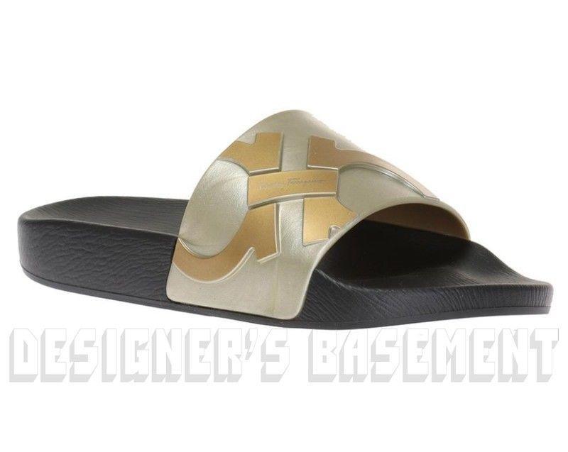 589713a91e26d6 SALVATORE FERRAGAMO men 12M metallic DANTE slides FLIP-FLOPS shoes NIB  Authentic  fashion
