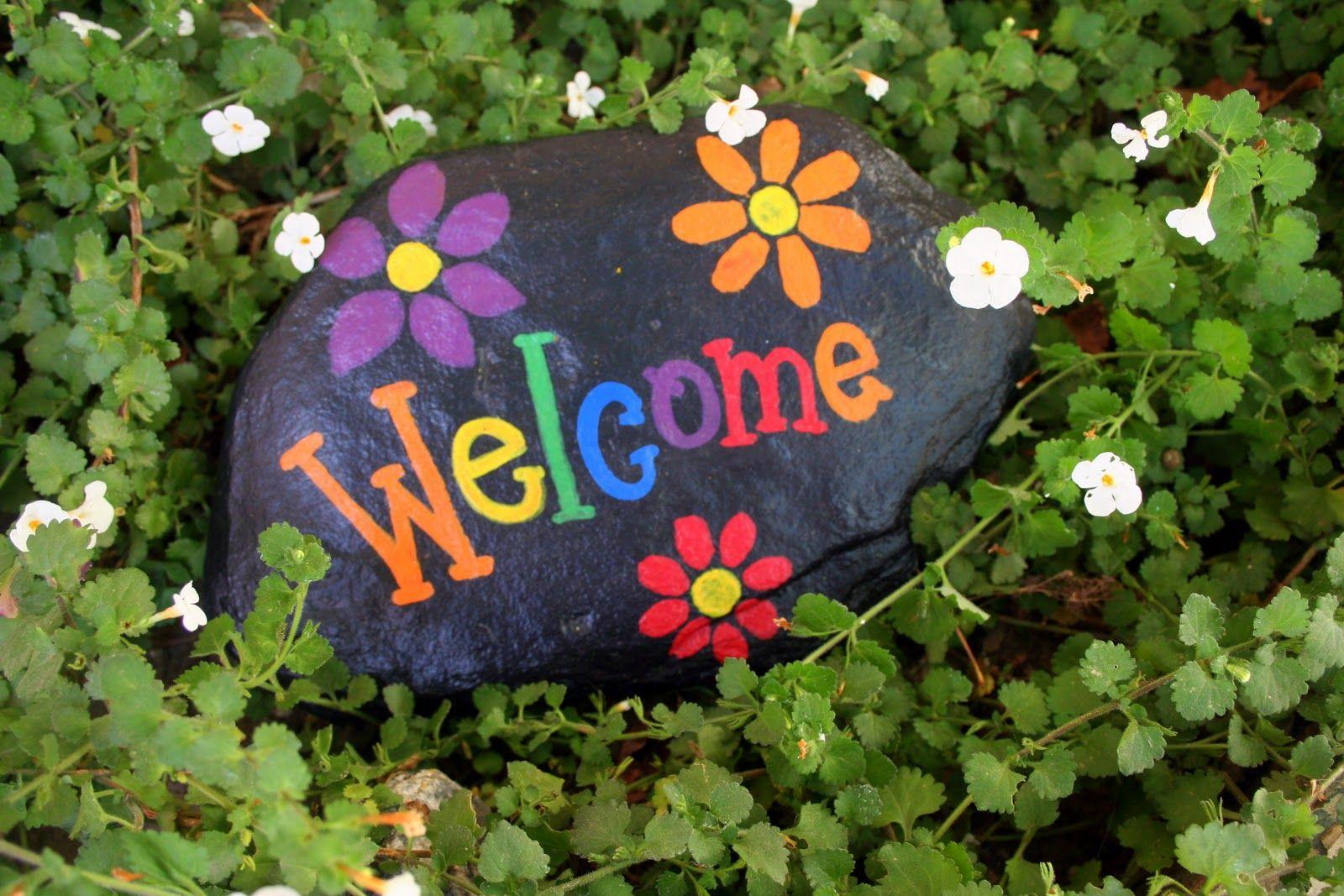 Beverly S Santa Maria Welcome Signs Rock Painted Rocks Diy Rock Crafts Painted Rocks