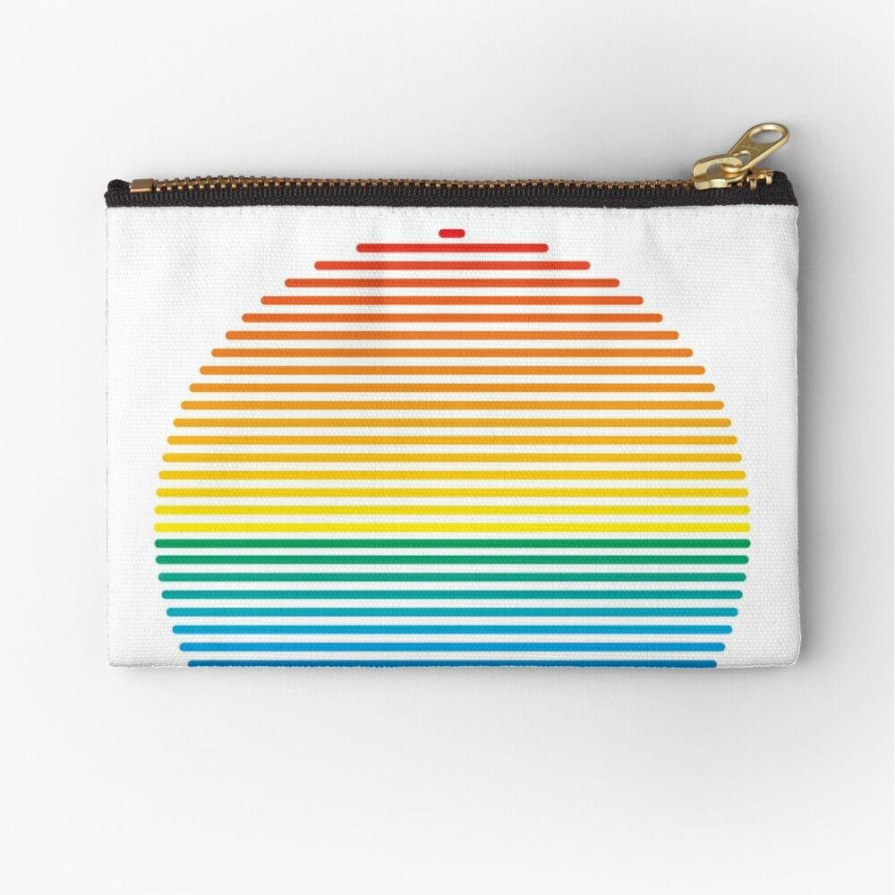 Wristlet Card Case Coin Pouch Rainbow Triangles Cotton Coin Purse Zipper Pouch