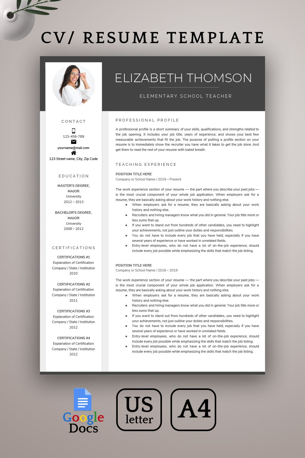 Google Docs Resume Template Teacher Resume Template Google