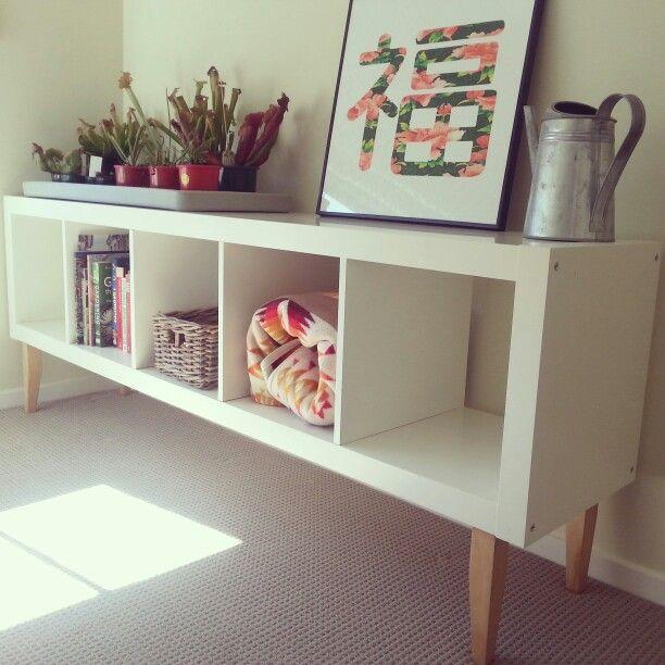 Ikea Hack Expedit Bookcase With Staibed Legs From Bunnings Makes For A Lovely Low Shelf Zwei Davon Rücken An Und Eine Holz Glas Platte Darauf