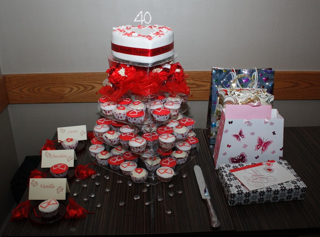 Cupcake decorating ideas wedding cake red 40th wedding for 40th anniversary decoration ideas
