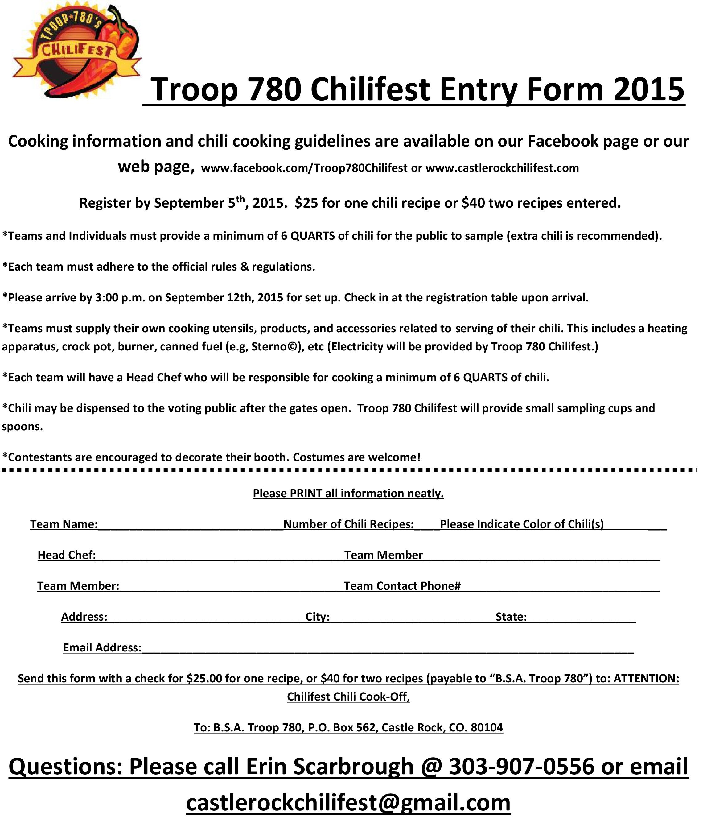 Chilifest Entry Form  Chilifest     Php