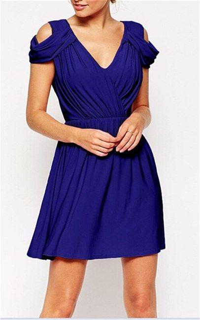 Haoduoyi Blue Short Sleeve Dress