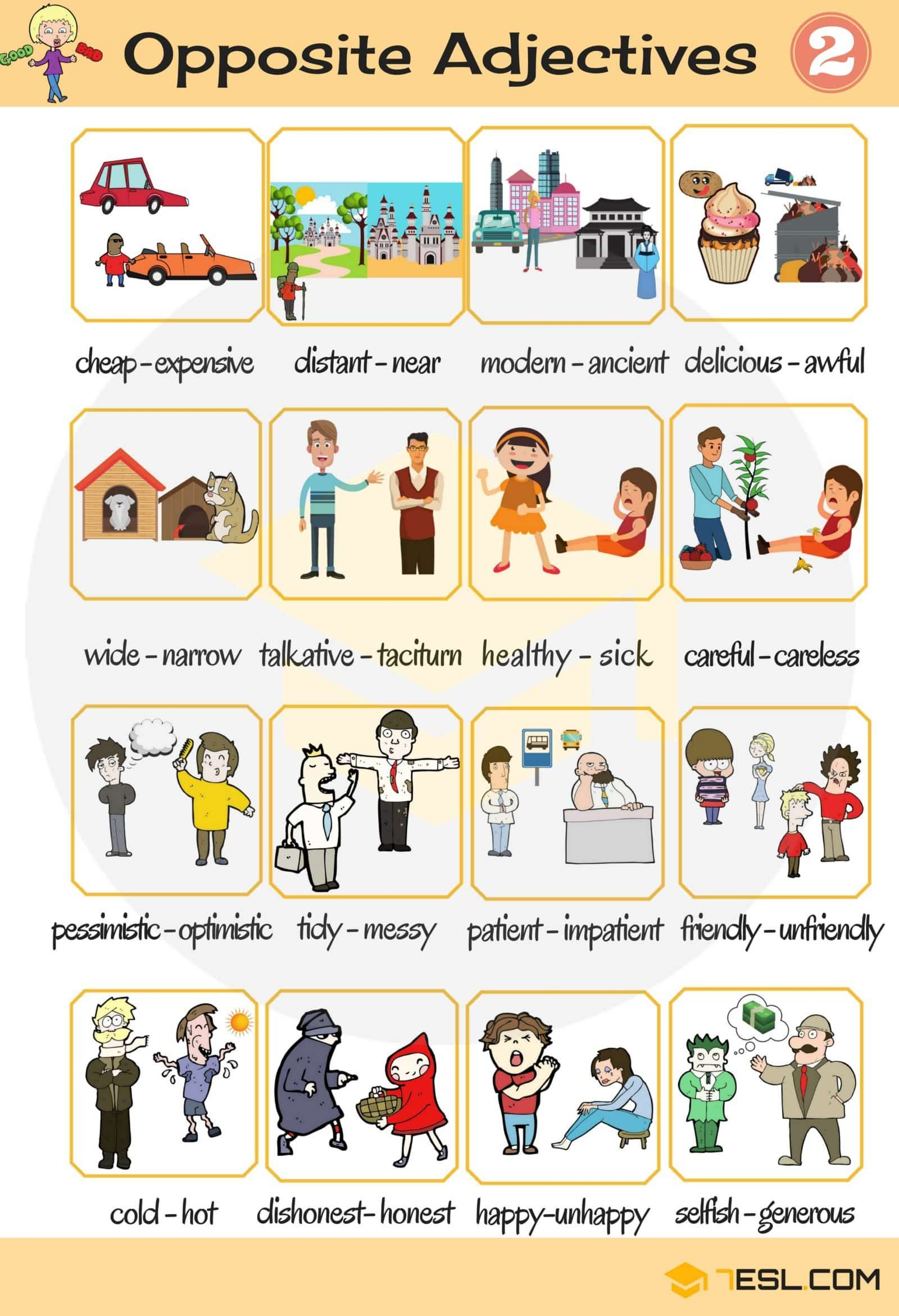 List Of Opposite Adjectives In English With Images
