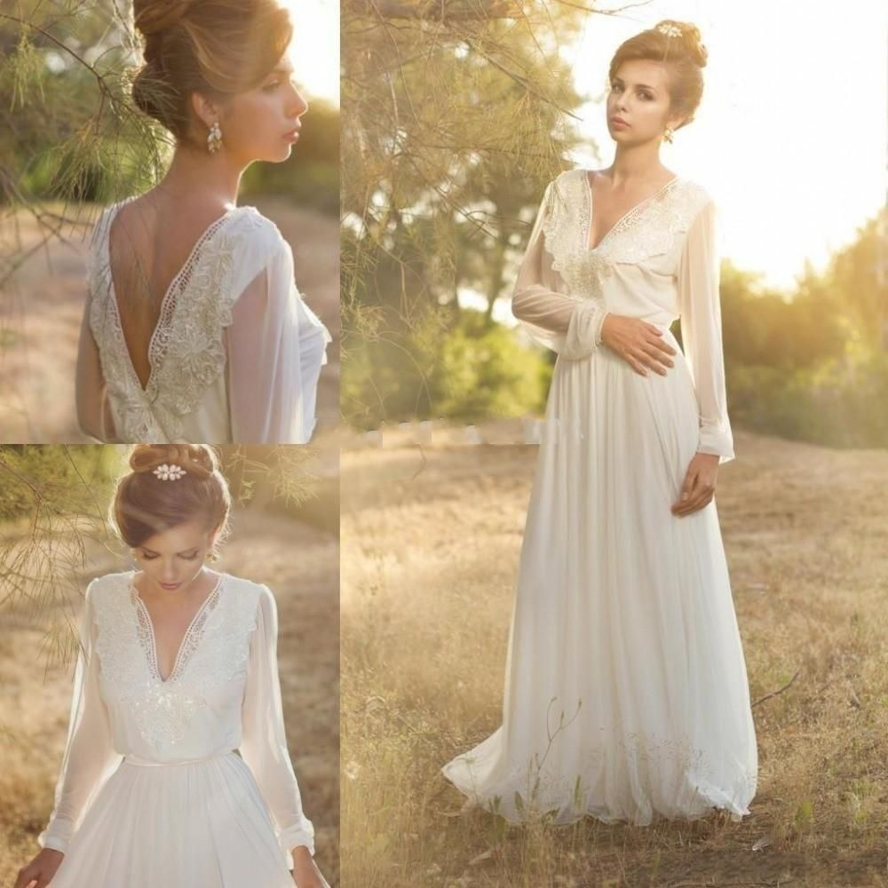 Real Simple Wedding Dress Cheap Long Sleeve V Neck Backless Pearls Appliques Elegant Floor Length Custom
