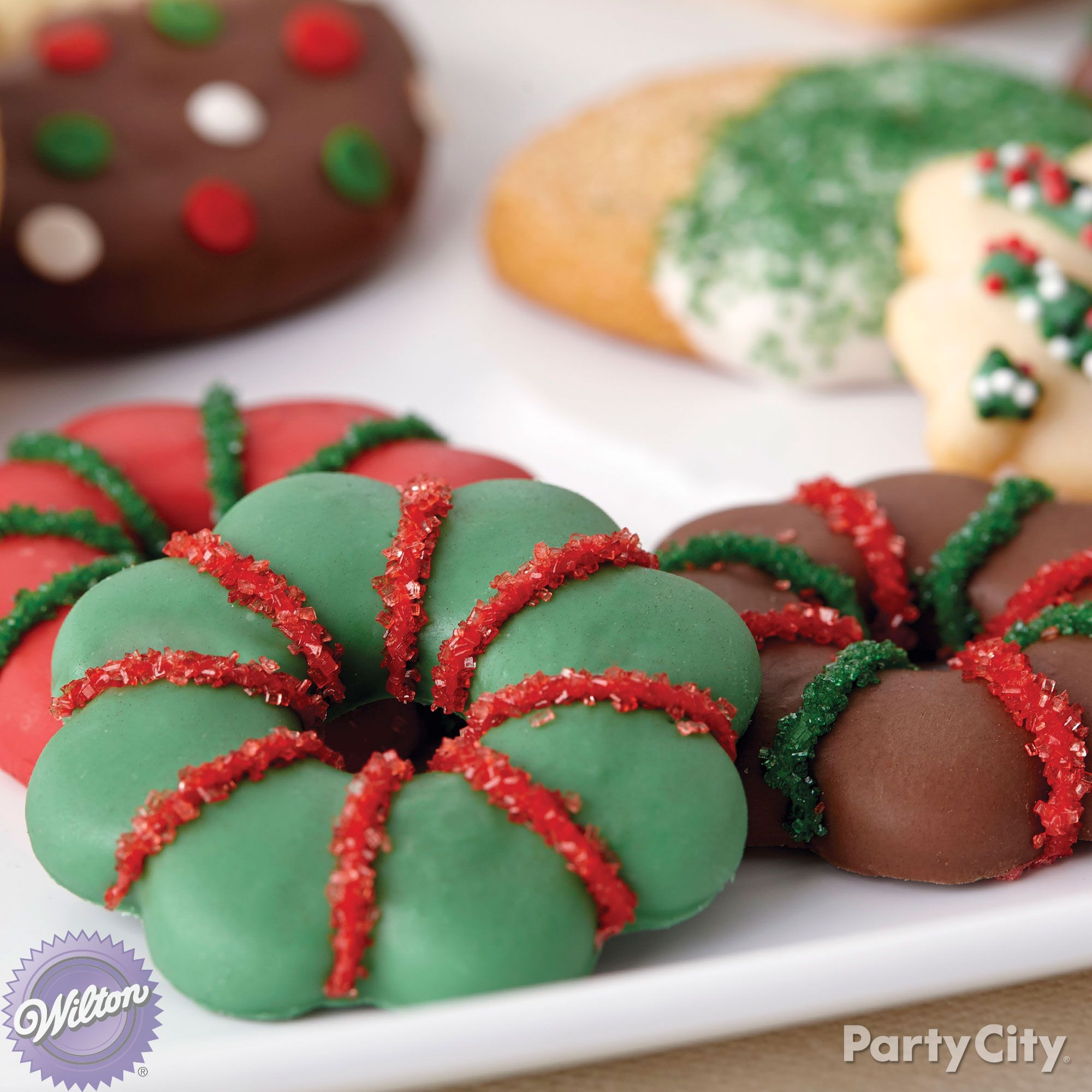 Dunk cookies in red green and cocoa candy melts with ribbons of 12 decadent christmas treats ideas tis the season to have yourself a merry little dip n drizzle candy melts party solutioingenieria Image collections