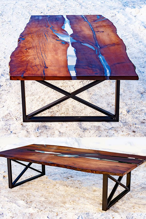 Large Dining Table In River Style With Wooden Slabs Metal