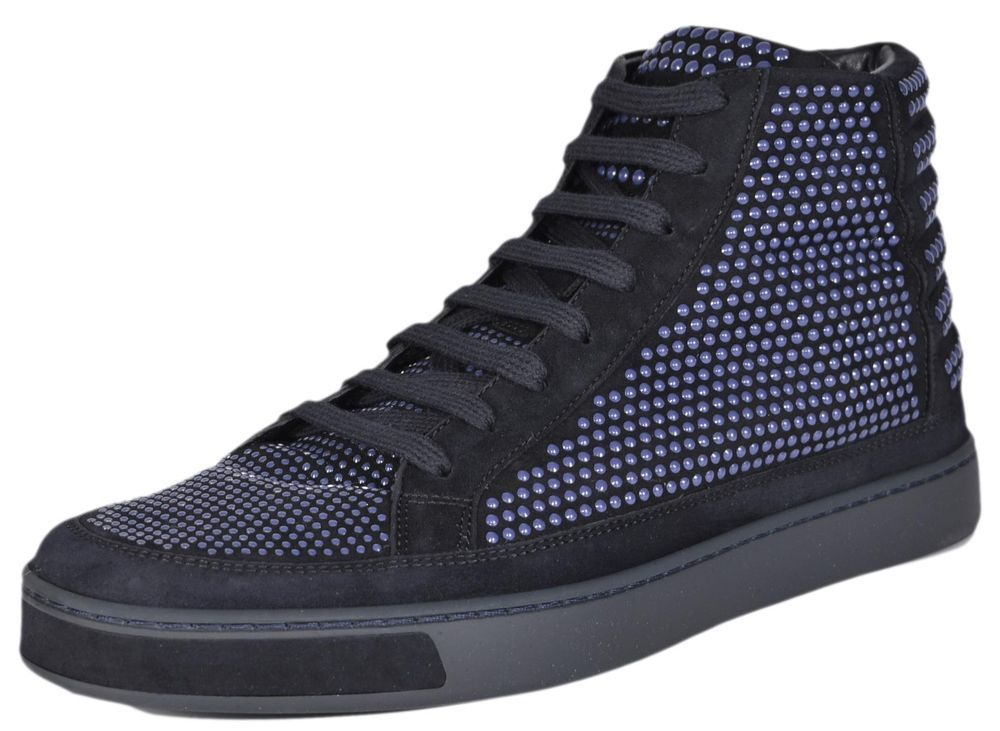 7fd75e3114c6 NEW Gucci Men s 391687 Blue Suede Studded High Top Sneakers Shoes 8 G 9 US   Gucci  FashionSneakers