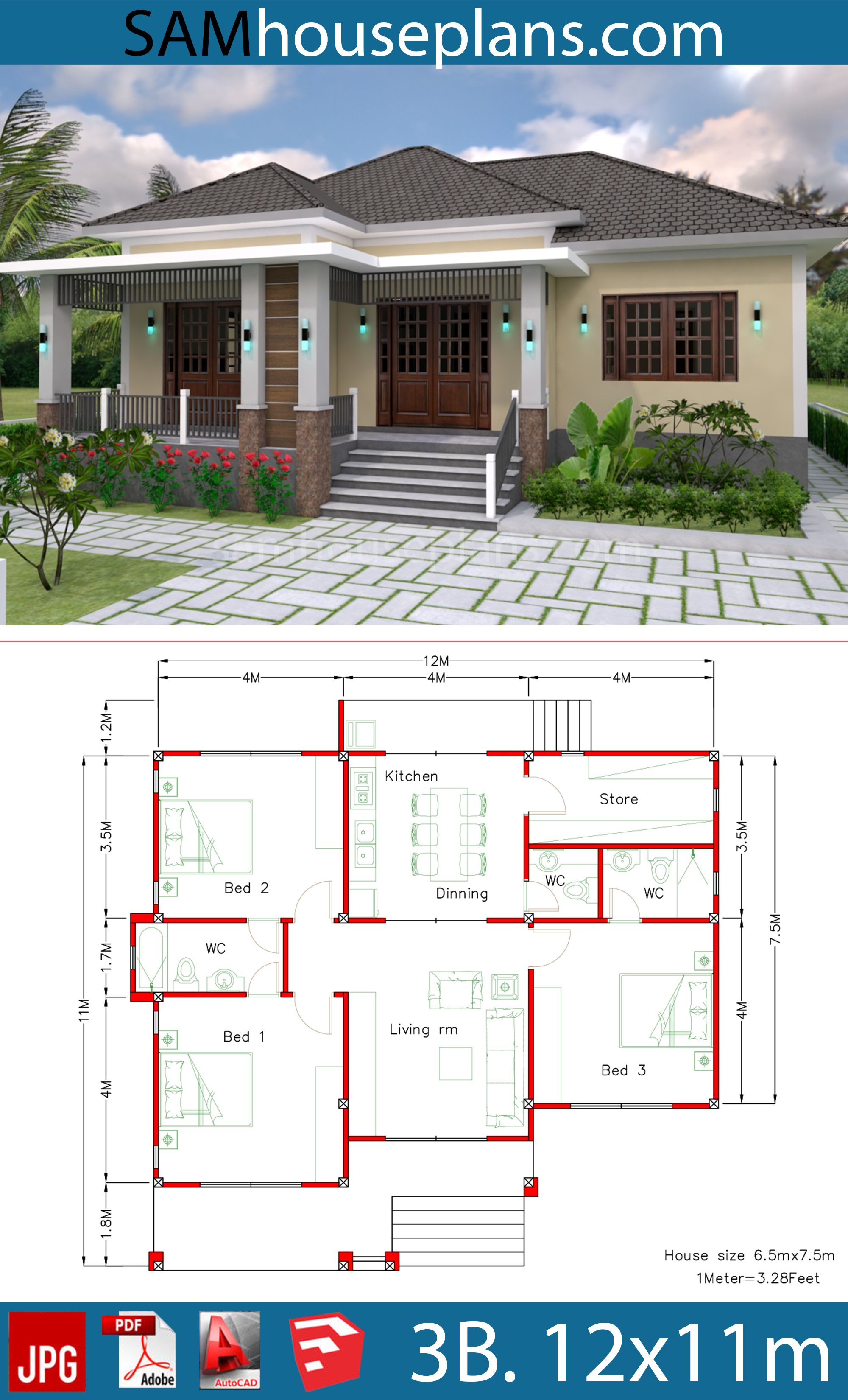 House Plans 12x11m With Full Plan 3beds House Plans Free Downloads Affordable House Plans Family House Plans My House Plans